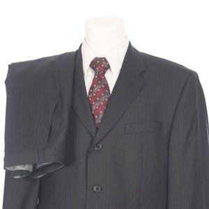 Calvin Klein 3 Button Black Pinstripe Wool Suit